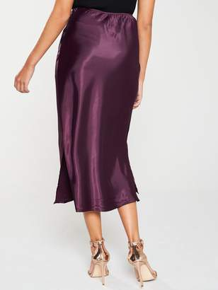 AX Paris Satin Midi Skirt - Plum