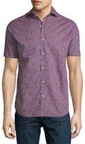 Neiman Marcus Geo-Print Short-Sleeve Shirt