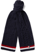 Thom Browne Striped Aran Merino Wool Scarf - Navy