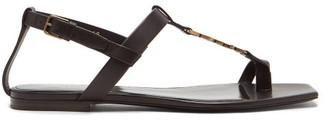 Saint Laurent Cassandra monogram T-bar Leather Sandals - Black