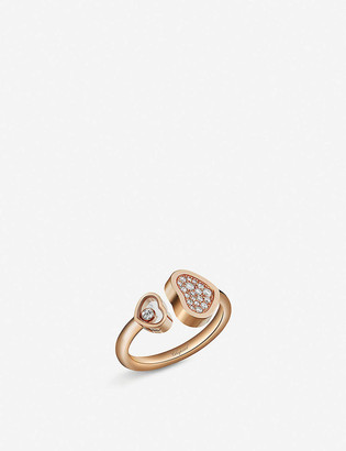 Chopard Happy Hearts 18ct rose-gold and diamond ring