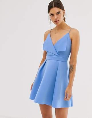 Asos Design DESIGN fold front scuba mini skater dress-Blue