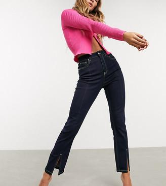 ASOS DESIGN super high rise 'sassy' cigarette jeans with split seam detail in indigo denim