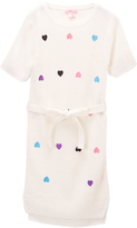 Pink Angel Off-White Heart-Embroidery Belted Sweater Dress - Toddler & Girls