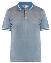 Brioni Contrast-collar Cotton And Silk-blend Polo Shirt