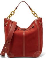 Jerome Dreyfuss Tanguy Leather-trimmed Nubuck Shoulder Bag - Orange