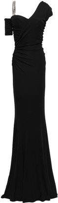 Roberto Cavalli Cold-shoulder Embellished Stretch-jersey Gown