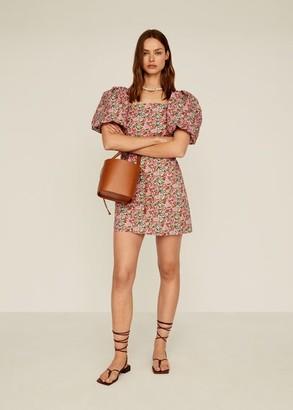 MANGO Floral puffed sleeves dress fuchsia - 4 - Women