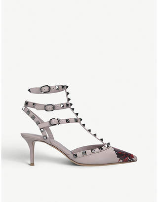 Valentino Rockstud caged flower -print leather courts
