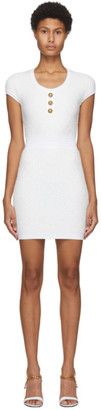 Balmain Off-White Fluffy Diamond Cap Sleeve Dress