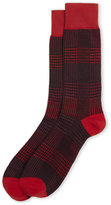 Lorenzo Uomo Micro Plaid Italian Cotton Crew Socks
