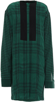 Haider Ackermann Checked Crepe-paneled Twill Shirt Dress