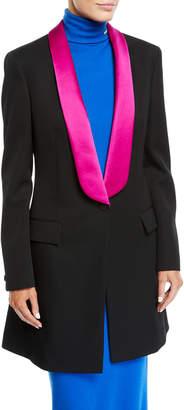 Calvin Klein Tux-Lapel One-Button Long Wool Gabardine Blazer Coat