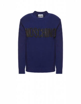 Moschino Organic Cotton Sweater Zip Logo Man Blue Size 44 It - (34 Us)