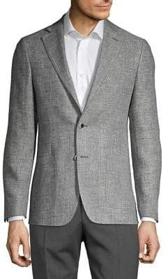 Michael Kors Linen-Wool Patch-Pocket Blazer