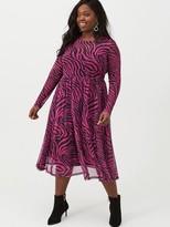 V By Very Curve Zebra Midi Mesh Dress - Pink