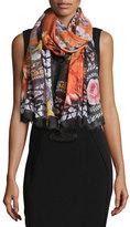 Givenchy Paradise Flowers Cashmere-Silk Scarf, Black/Orange