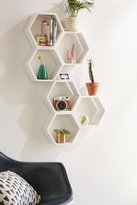 Urban Outfitters Triple Honeycomb Wooden Shelf