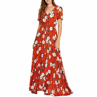 Hulky Women's Dresses HULKY Women Floral Print Button Up Split Flowy Party Maxi Dress Boho Wrap Vintage Ethnic Style Loose Beach Dress Plus SizeRedXXXL