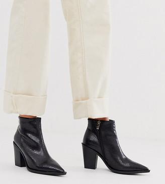 Co Wren wide fit heeled western boots in snake