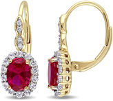 FINE JEWELRY Red Lab-Created Ruby and Diamond Accent Drop Earrings in 14K Gold