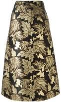 Saint Laurent floral embroidered skirt