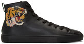 Gucci Black Major Tiger High-Top Sneakers