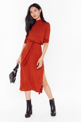 Nasty Gal Womens Tie and Stop Me Belted Midi Dress - Rust
