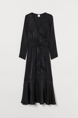 H&M Shimmering Satin Dress - Black