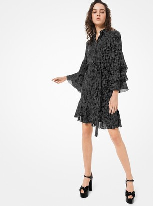 Michael Kors Dot Silk-Georgette Ruffled Shirtdress
