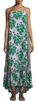 Suno Sleeveless Floral Silk Maxi Dress, Green