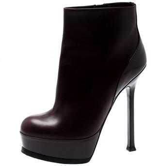 Saint Laurent Burgundy Leather Platform Ankle Booties Size 36