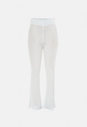 Missguided White Knit Flared Pants