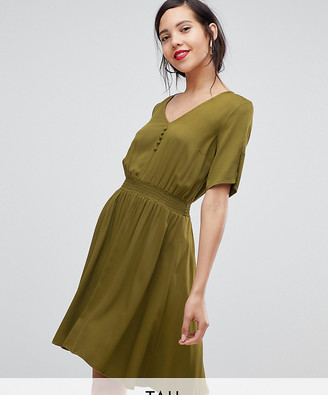 Y.A.S Tall midi dress with elasticated waist-Green