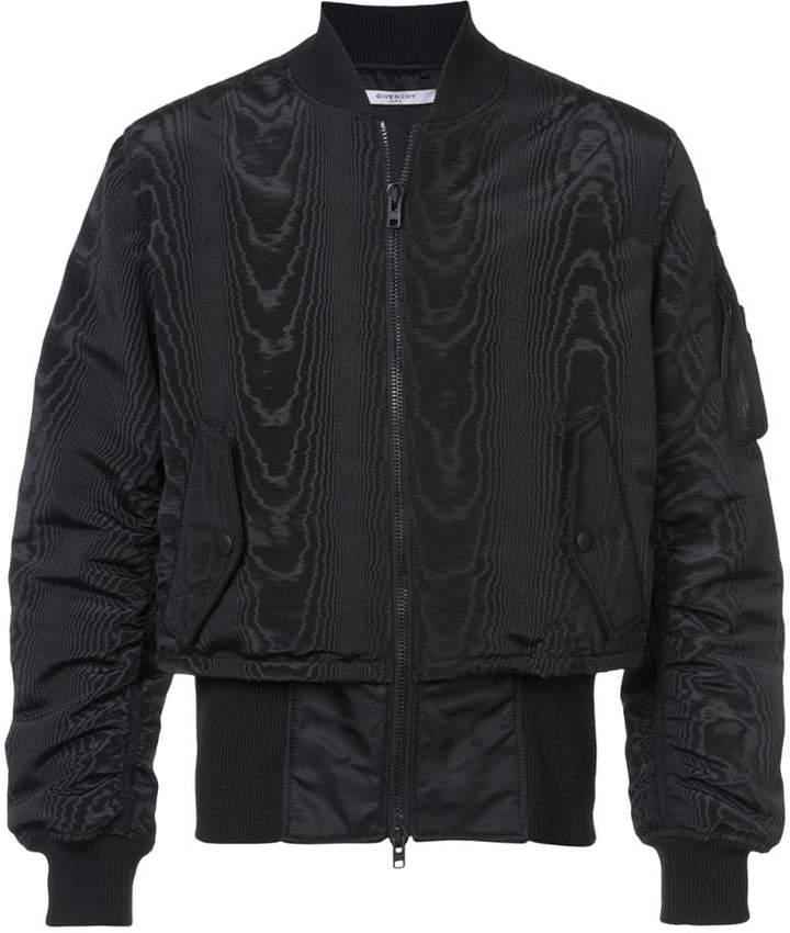 Givenchy moiré and trompe-l'oeil effect bomber jacket