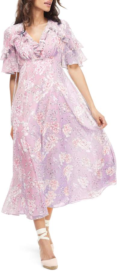 Gal Meets Glam Shelby Tie Neck Ruffle Maxi Dress