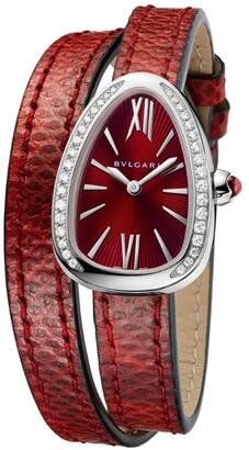 Bvlgari Stainless Steel and Diamond Serpenti Watch 27mm