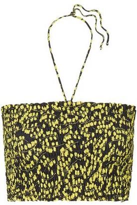 Ganni Shirred Floral-print Bikini Top