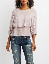 Charlotte Russe Swiss Dot Ruffle-Trim Top