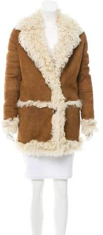 Yves Salomon Suede Fur-Lined Coat