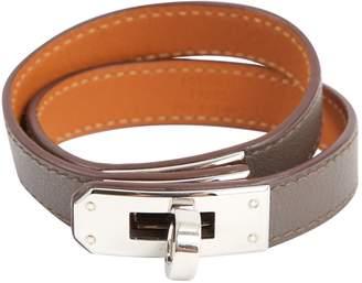 Hermes Kelly Double Tour Grey Leather Bracelets