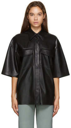 Nanushka Black Vegan Leather Rogue Short Sleeve Shirt