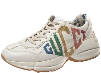 Gucci White Leather Glitter Rhyton Lace Up Sneakers Size 37.5