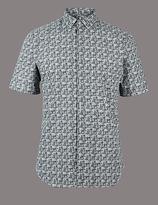 Autograph Pure Cotton Slim Fit Printed Shirt