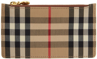 Burberry Beige and Brown Vintage Check Card Holder
