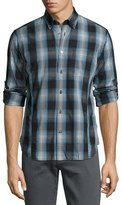 John Varvatos Mitchell Slim-Fit Scratch-Check Sport Shirt, Blue
