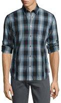 John Varvatos Mitchell Slim-Fit Scratch-Check Sport Shirt, Blue