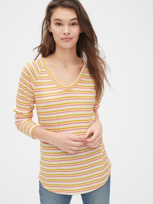 Gap Stripe Waffle-Knit V-Neck T-Shirt