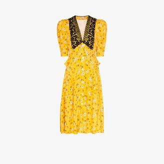Miu Miu Deep V-Neck Lace Collar Puff Sleeve Midi Dress