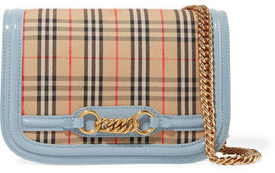 Burberry Patent Leather-trimmed Checked Canvas Shoulder Bag - Neutral